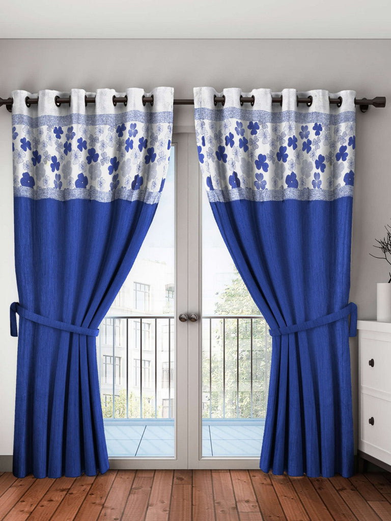 <SMALL><B><strong>PURE LIVING RETREAT </B></strong></SMALL>Breezy Textured Fabric Curtain & Top Design [Eyelet Pattern] <small> (mix-match-blue)</small>