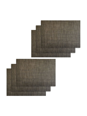 <SMALL><B><strong>BELLEVUE </B></strong></SMALL>Easy Clean Luxury Woven Pvc Dining Place-Mat <small> (bellevue-beige/black)</small>