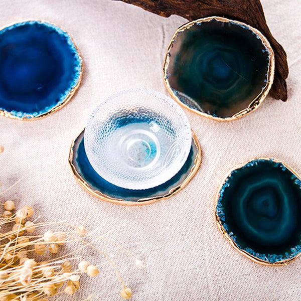 Round Gold-Rimmed Blue Agate Coasters - SweetWitch