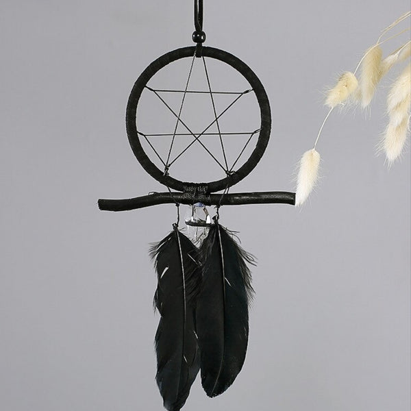 Crow Feather & Quartz Crystal Dream Catcher