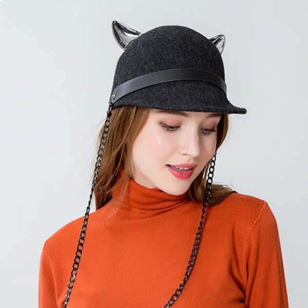 Fox-Eared Wool Riding Cap - SweetWitch