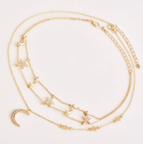 Gold Multilayer Star & Moon Choker - SweetWitch
