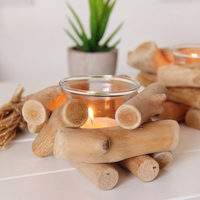 Wooden & Glass Candle Holder - SweetWitch