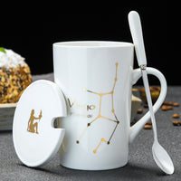 12 Constellation Zodiac Mugs with Spoon & Lid - SweetWitch