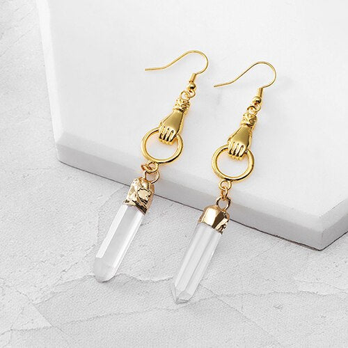 Sacred Hand Clear Quartz Drop Earrings