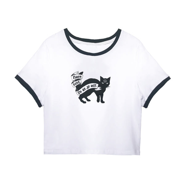 Harm None Black Cat Crop Top - SweetWitch