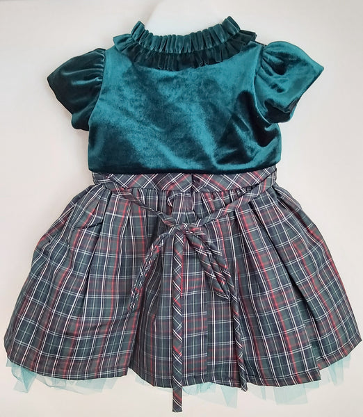 Girls Emerald Tartan Dress & Bolero set