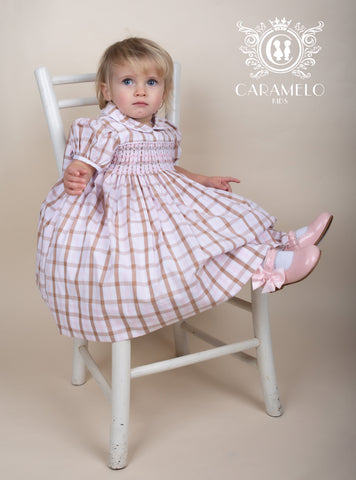Girl's Baby pink & Caramel Smock Dress with Big Bow