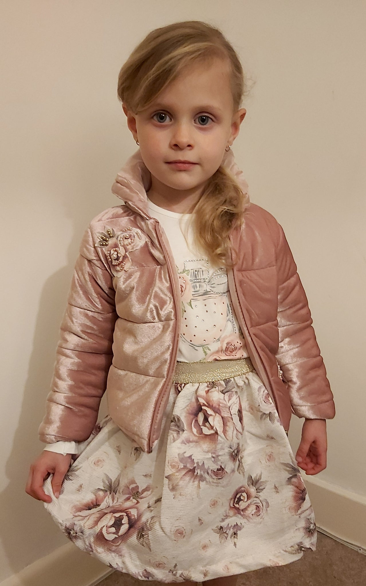 Girl's Velour Dusky Pink Jacket, Top & Skirt floral