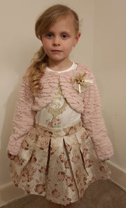 Girls Dusky Pink Shrug, Top and Skirt Set
