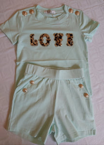 "Girls Mint ""Love"" leopard print top & shorts set"