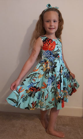 Girls Mint Tropical print Dress & Bow Headband