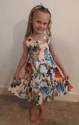 Girls Dusky Pink Tropical Print Dress