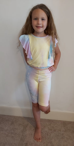 Girls Pastel Ruffle Top & Cycling Short's Set
