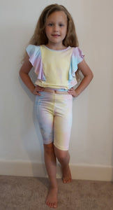 Girls Pastel Ruffle Top & cycling shorts set