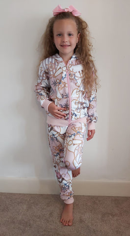 Girls Pink Designer Style Lounge Suit with Perfume bottle print