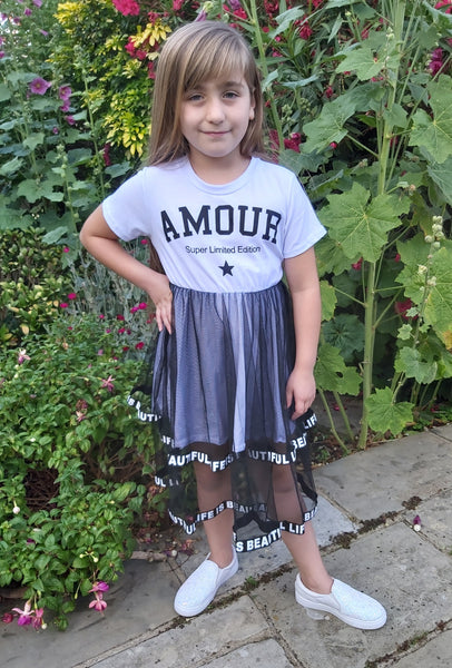 Girls Amour Black & White Dress
