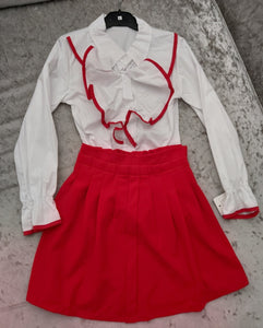Girls Red Skirt with white Ruffle shirt Set