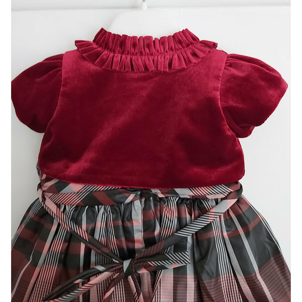 Girls Maroon Tartan Dress & Bolero set