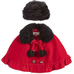 Girl's Couche Tot Red Cape with Black Faux Fur Collar and Hat