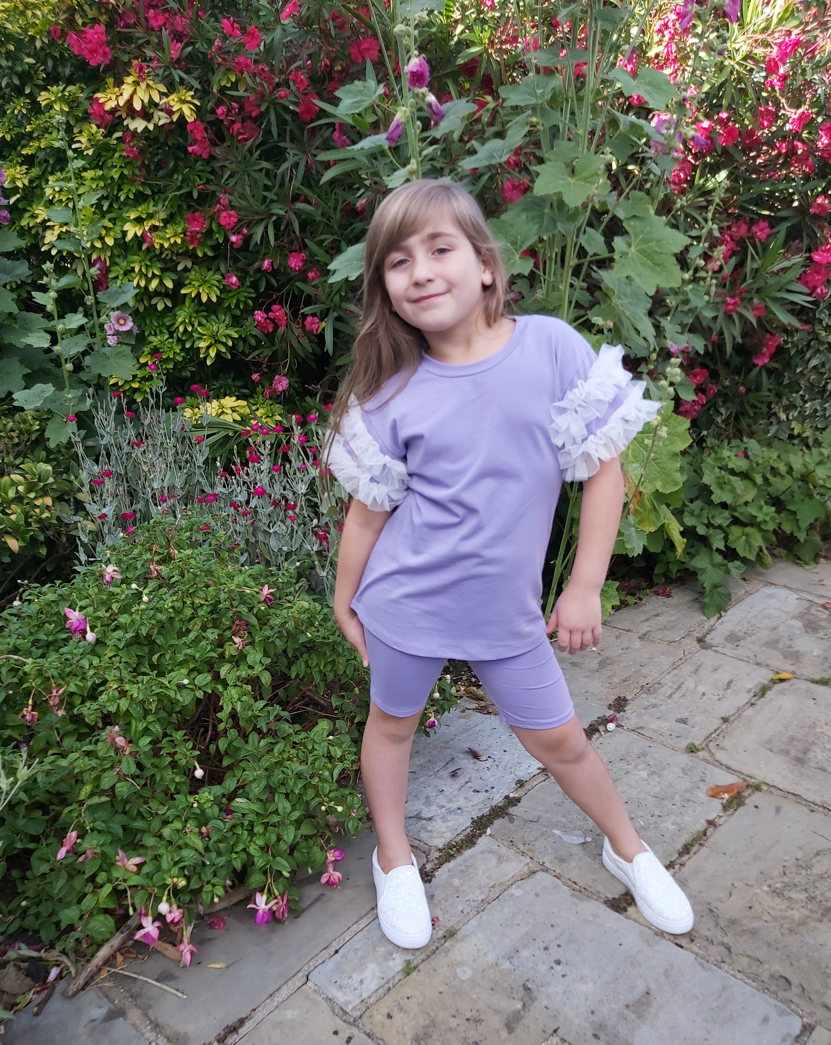 Girls Lilac Ruffle Sleeve T-shirt & Cycling Shorts