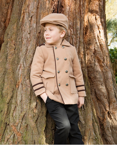 Boys Camel Coat with Flat Cap