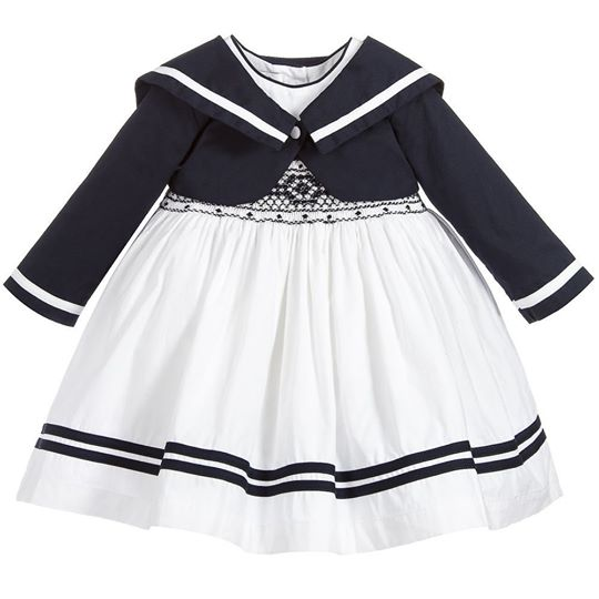 White Smock Dress & Navy Bolero