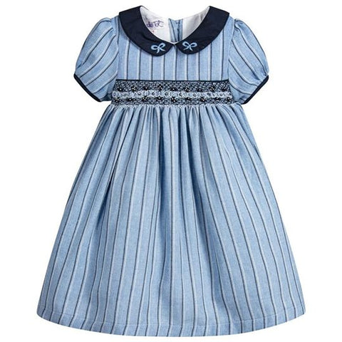 Girls Navy and Blue Smock Dress