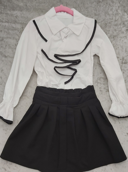 White Ruffle shirt with black trim & Black Skirt