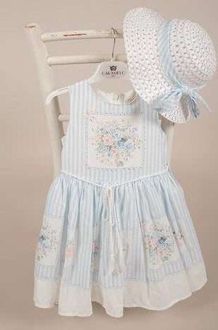 Girls Blue & White Stripe Dress with matching Hat