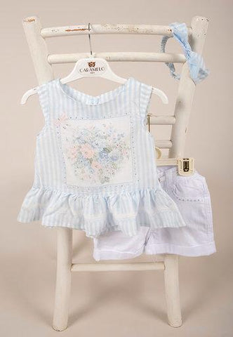 Baby Girls Baby Blue Top, White denim shorts, belt & Headband