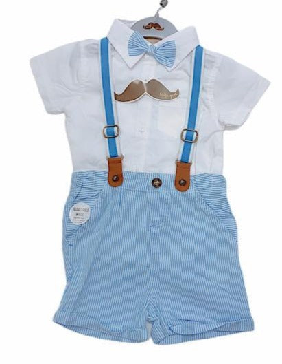 Baby Boys Shorts, Shirt, Braces & Bow Tie Outfit