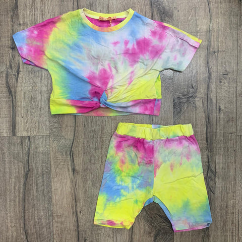 Girl's Bright Tie Dye knot Top & Cycling Short's