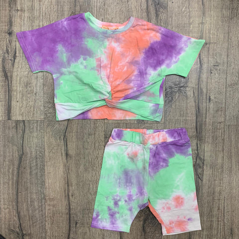 Girls Mint, Lilac & Coral Tie Dye Knot Top & Cycling Short's