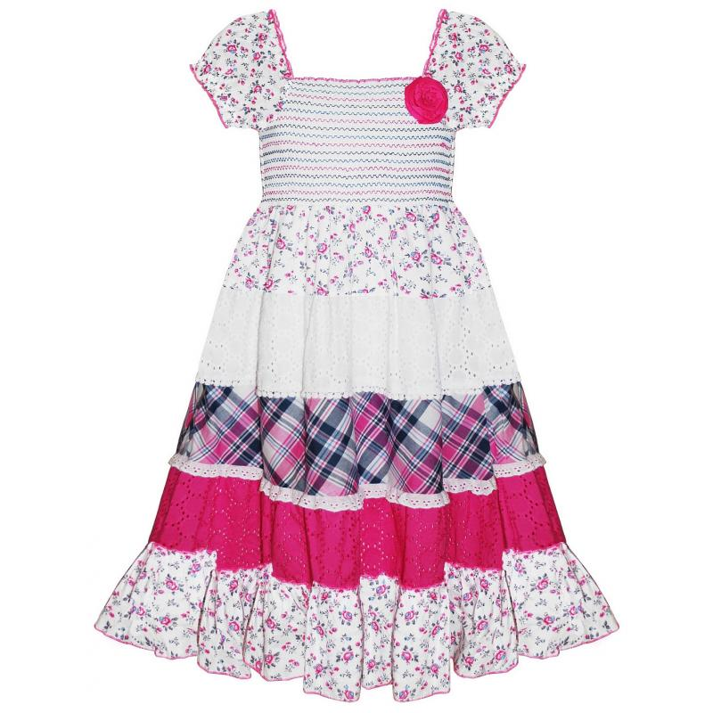 Girls Pink Patchwork Dress