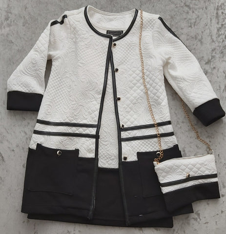 Girl's 3-piece White & Black jacket, Dress & Bag outfit