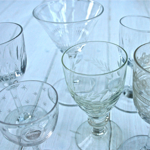 Vintage glasses, set of vintage glasses