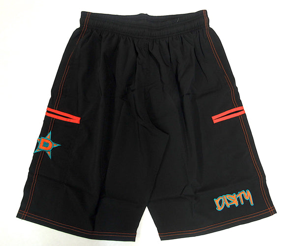 4-WAY STRETCH SHORT Black with With Teal & Orange Dirty Graffiti Logo