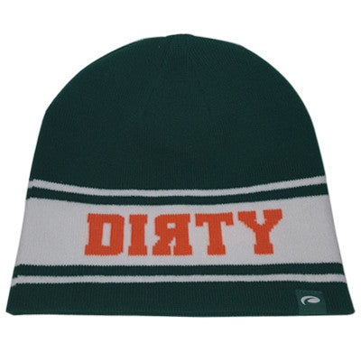 HAT - PUKKA Knit BEANIE  - GREEN and White with Orange DIRTY