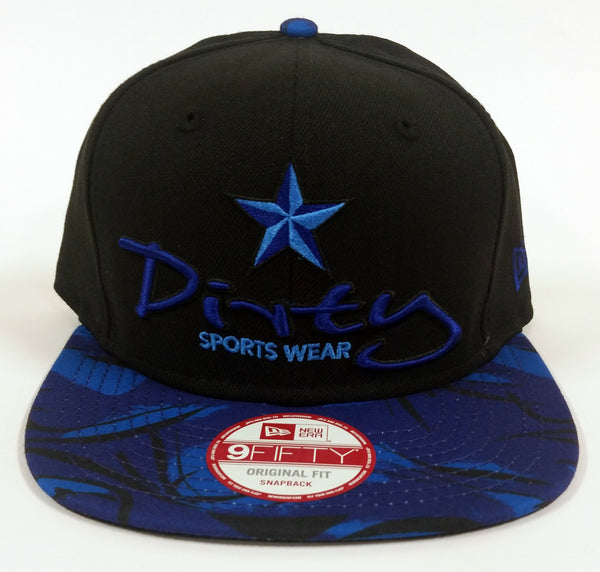 New Era 9FIFTY Snap-Back BLACK Hat - Blue Dirty Star Logo, Flat Blue Bill #118