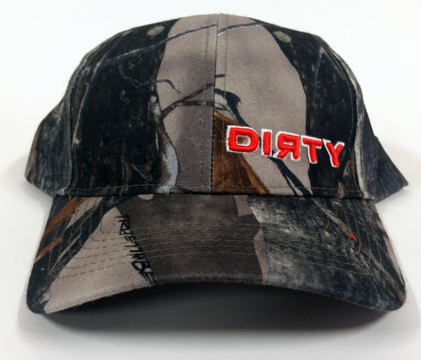 True Timber Camo XD3 Hat - Small Orange DIRTY Logo - Velcro Adjustment Strap #124