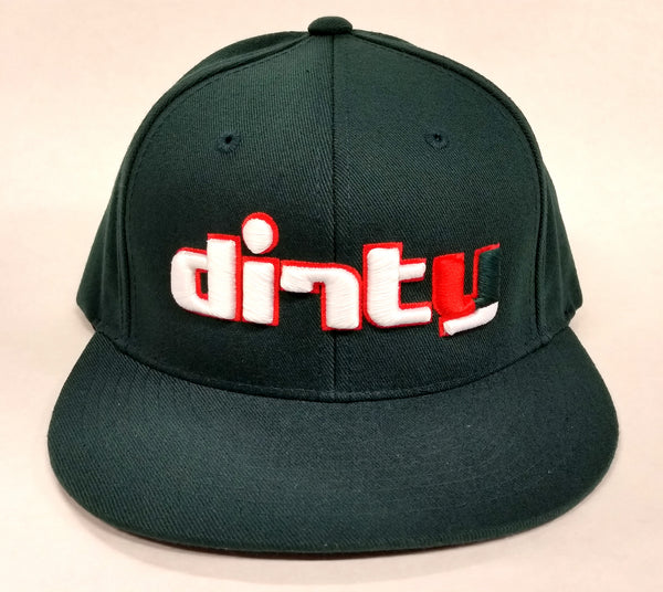 Snap Back Hat - Deep Green - Dirty Logo in MIAMI HURRICANES Font #164