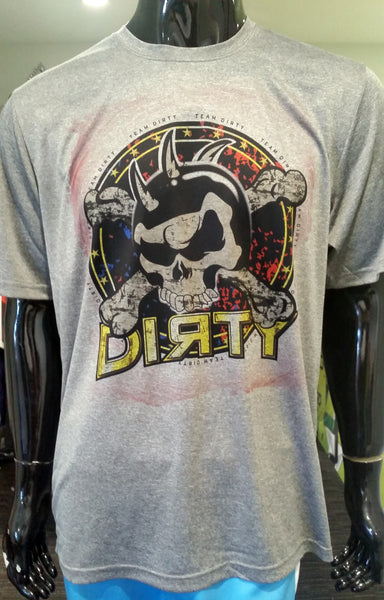 Team Dirty, Grunge Skull - Short Sleeve Polyester Shirt