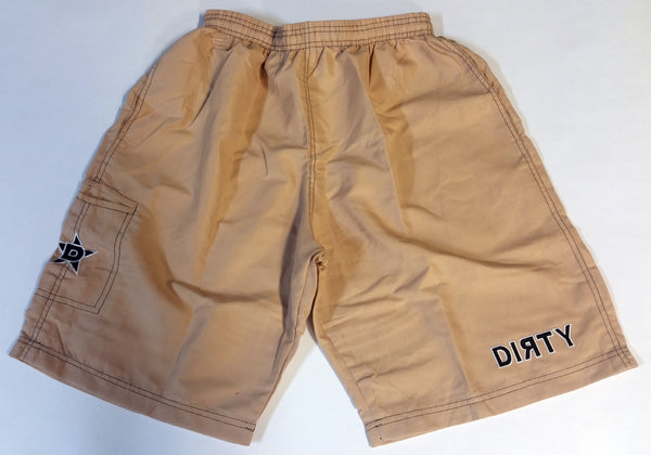 Dirty Sports, Micro Fiber Shorts - Tan, Black logo