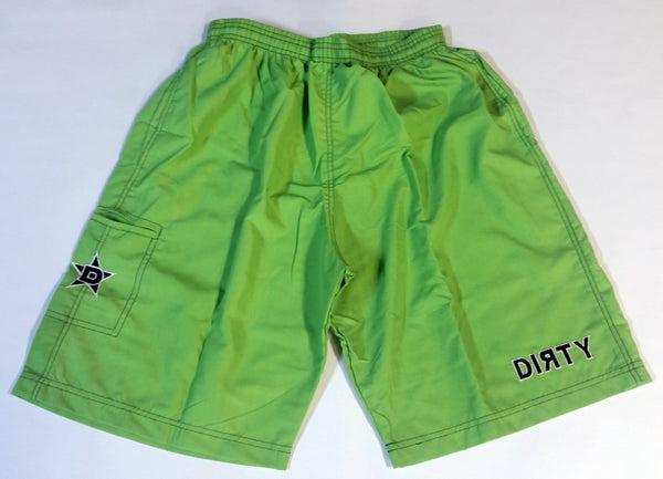 Dirty Sports, Micro Fiber Shorts - Neon Green, Black logo