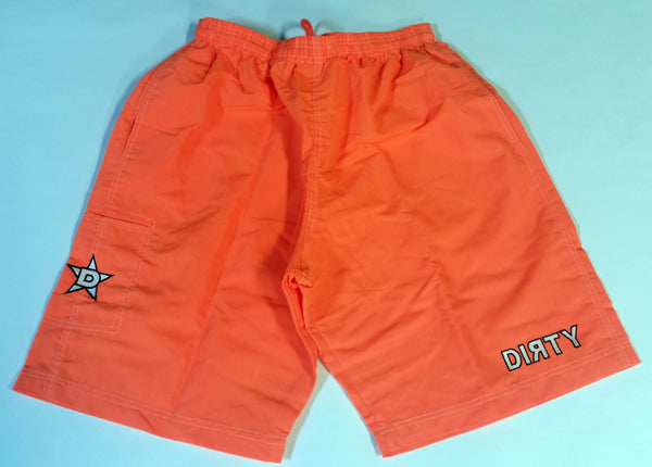 Dirty Sports, Micro Fiber Shorts - Neon Orange, White logo