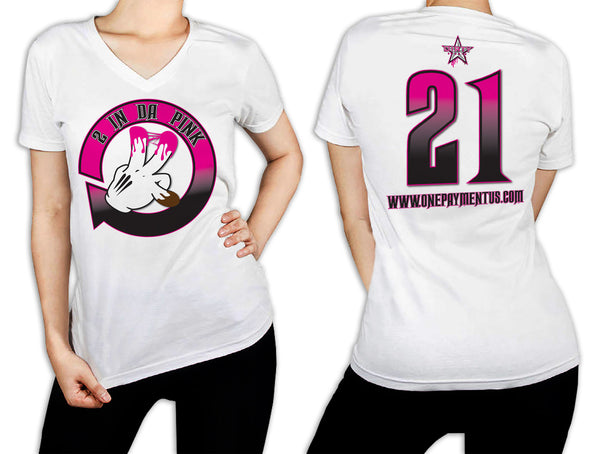 Women's White T-Shirt - 2 in the Pink
