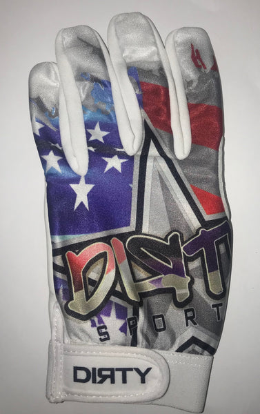 Dirty Sports, Batting Gloves - USA_Red, White, Purple-ish