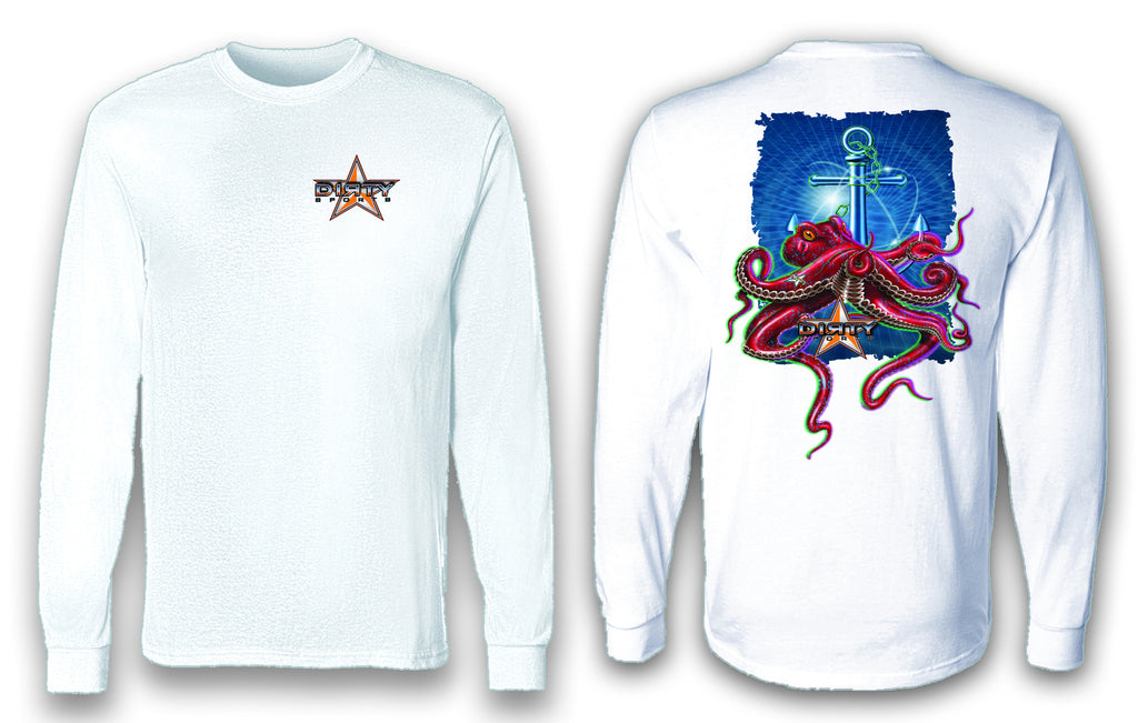 Octopus, Anchor Series - Long Sleeve Polyester Fishing Shirt
