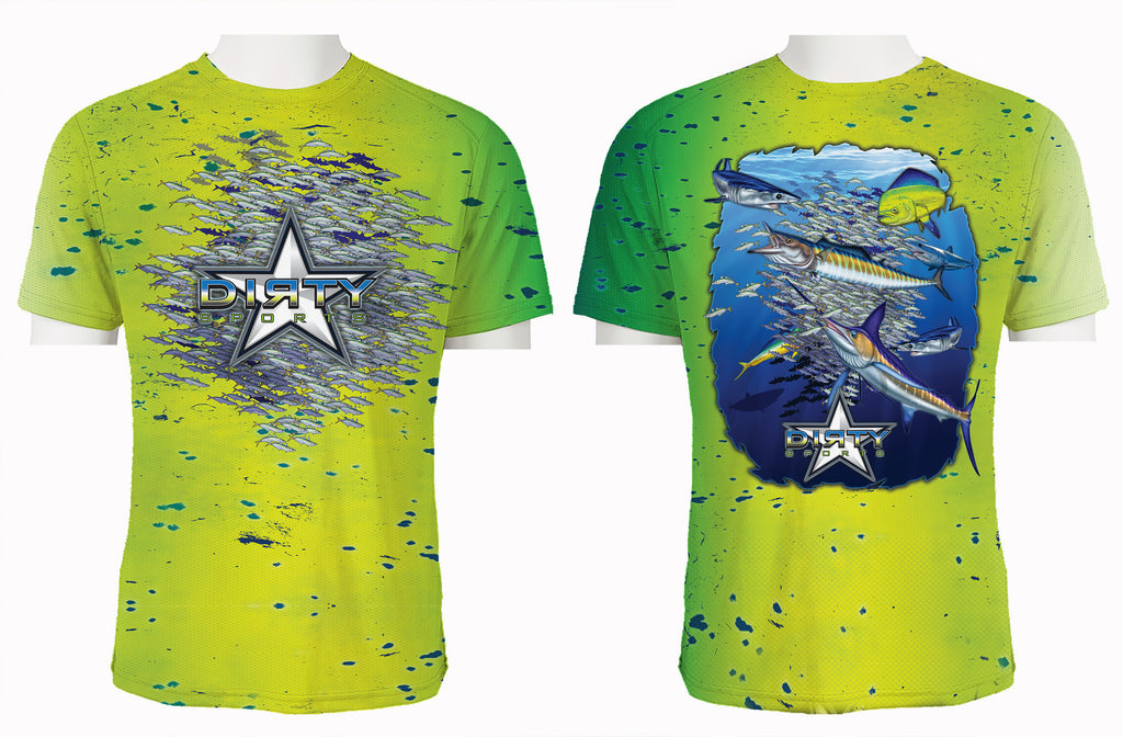 Bait Ball Mahi Texture FULL - Short Sleeve Polyester Shirt